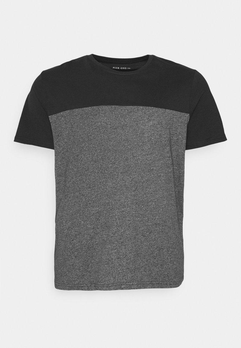 Pier One - Print T-shirt - black/mottled dark grey