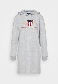 GANT - ARCHIVE SHIELD HOODIE DRESS - Day dress - grey melange - 3