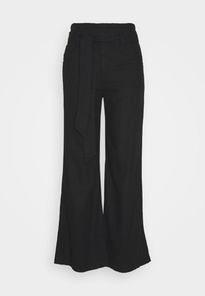 WIDE LEG SOLID - Bukse - true black
