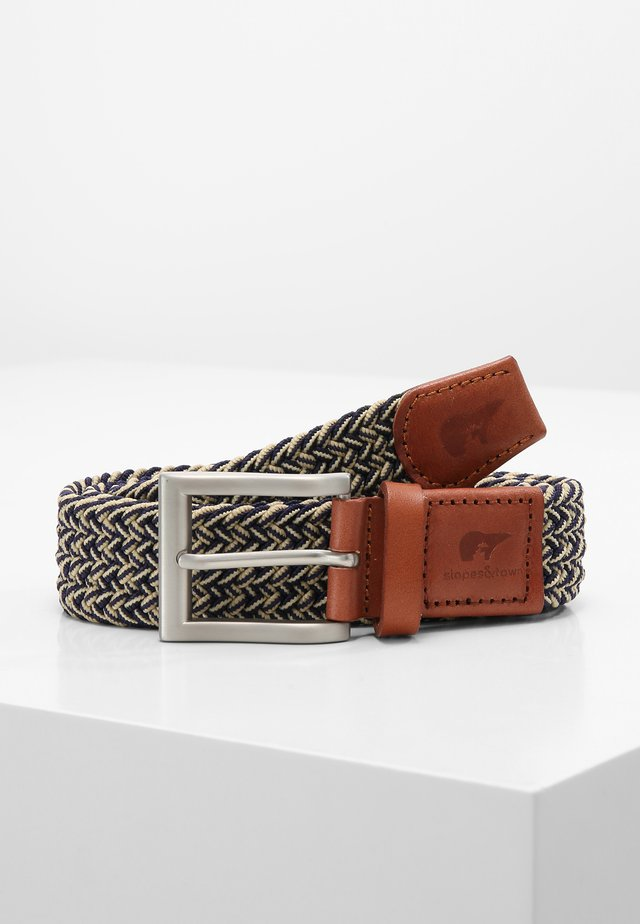 Braided belt - blue/cream