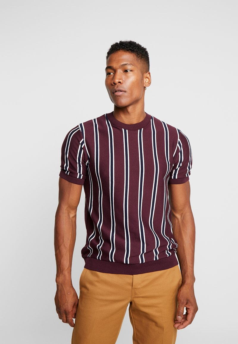 Topman - STRIPE CREW - T-shirt basic - burgundy