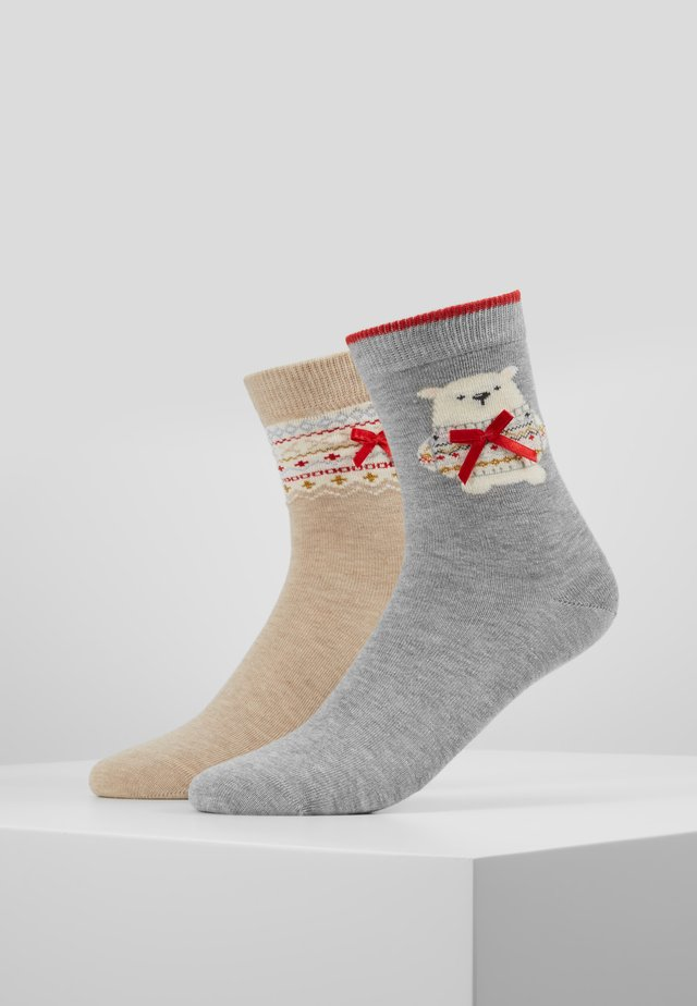 POLAR BEAR SOCK/FAIRISLE SOCK - Skarpety - grey mix/oatmeal mix