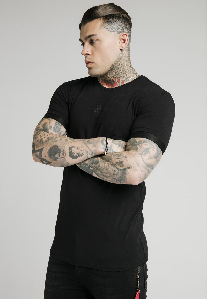 SIKSILK - INSET CUFF GYM TEE - Basic T-shirt - black