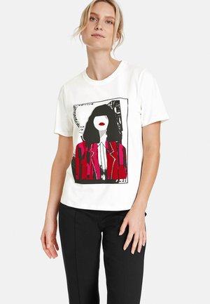 KURZARM RUNDHALS MIT FRONT-PRINT - T-shirts print - offwhite gemustert