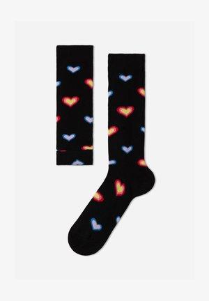 Over-the-knee socks - schwarz-black hearts patterned