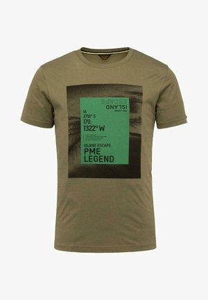 SHORT SLEEVE R NECK SINGLE  - Print T-shirt - dark green