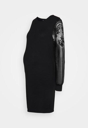OLMVIKTORIA LACE DRESS - Strikket kjole - black