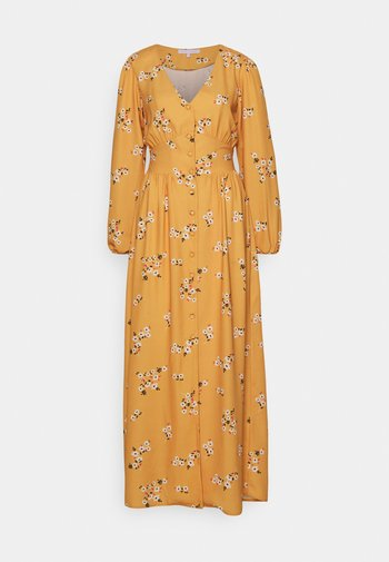 TRUE PLUNGE FRONT WITH BUTTON DETAIL - Vestido largo - yellow