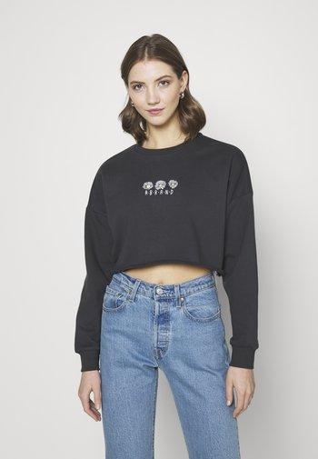 CROP - Sweatshirt - washed black
