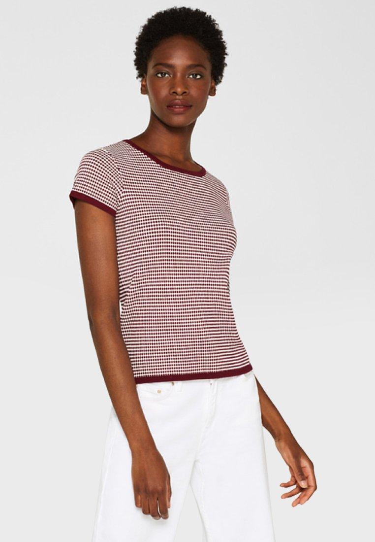 Esprit Collection - MIT TUPFEN-STRUKTUR - Print T-shirt - bordeaux/red