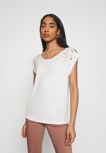 VIAPER EMBROIDERY - Print T-shirt - snow white/pastel