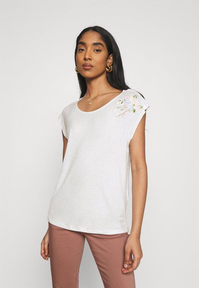 VIAPER EMBROIDERY - T-shirt con stampa - snow white/pastel