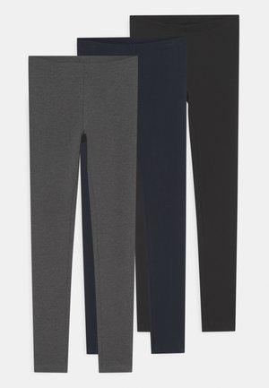 NKFVIVIAN SOLID 3 PACK - Leggings - Trousers - dark grey melange
