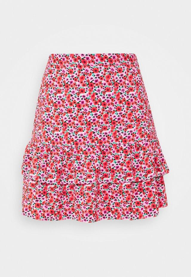 FLORAL MINI SKIRT - Áčková sukně - pink