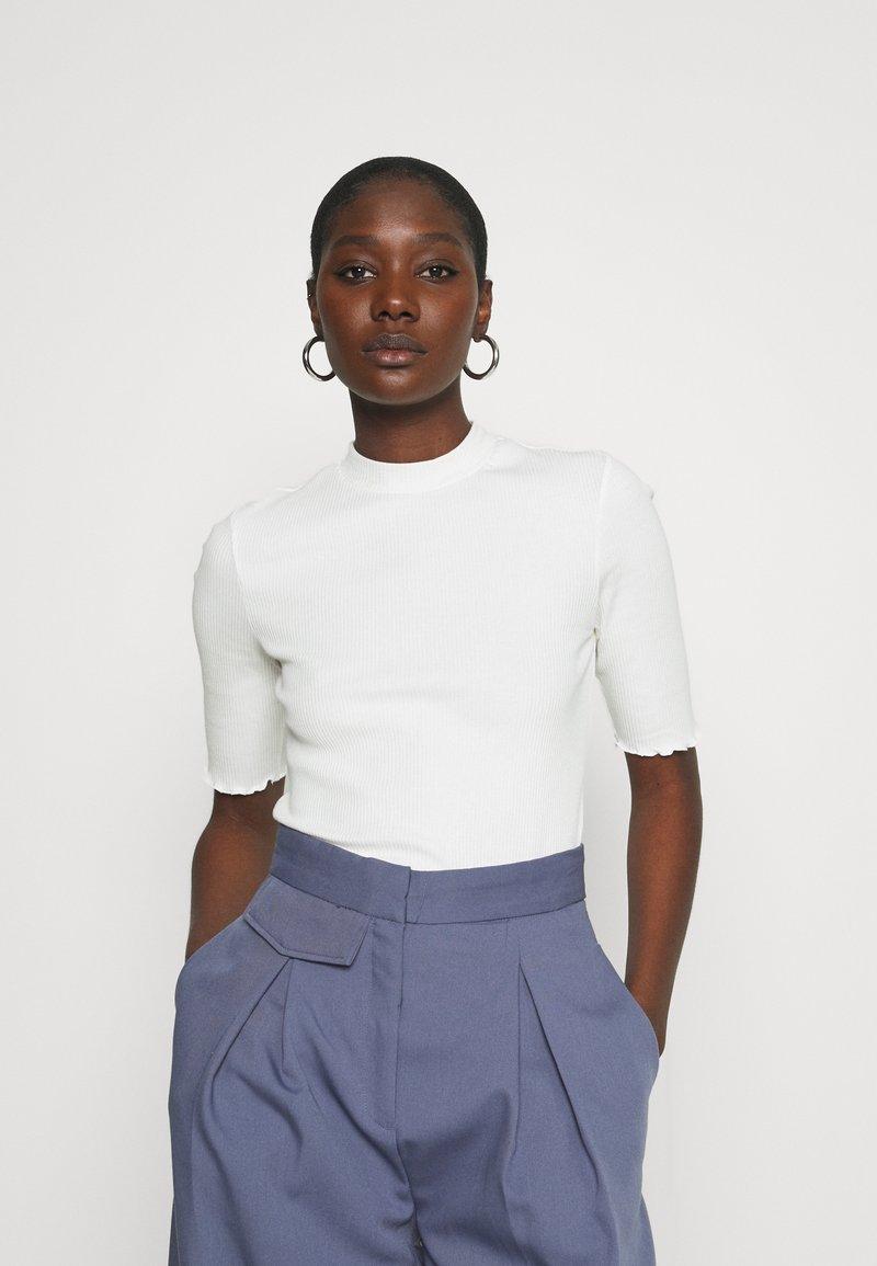 Selected Femme - SLFANNA CREW NECK TEE - T-shirt basique - snow white
