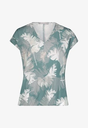 Print T-shirt - green/white