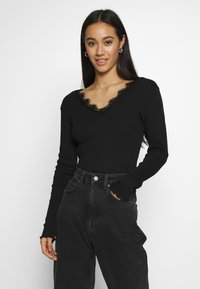Nly by Nelly - DEEP V - Topper langermet - black - 0