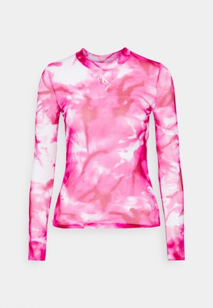 HIGH NECK - Long sleeved top - cerise marble