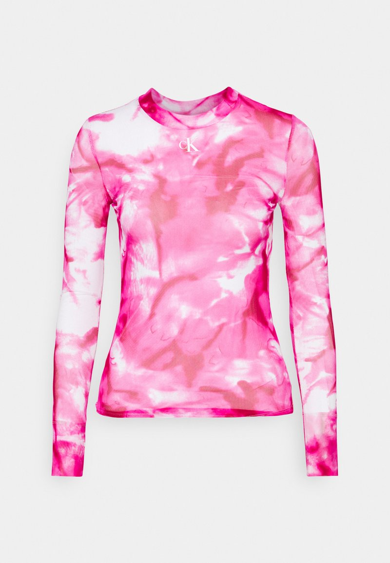 Calvin Klein Jeans - HIGH NECK - Long sleeved top - cerise marble