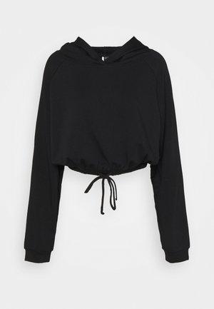 CINCH CROP HOODIE - Sweatshirt - black