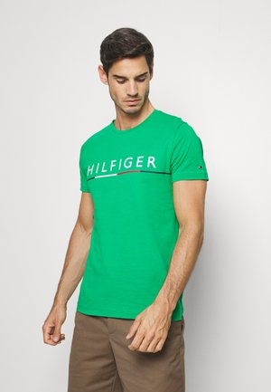 GLOBAL STRIPE TEE - T-shirt z nadrukiem - green