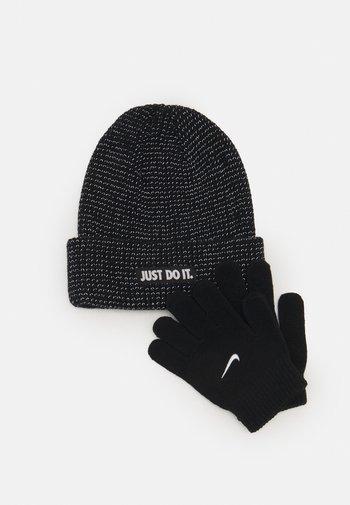 REFLECTIVE BEANIE GLOVES SET UNISEX - Gloves - black