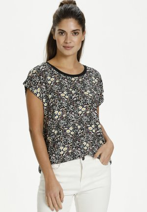 Blouse - black w.daisy flowers