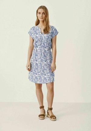 Jersey dress - colony blue block print