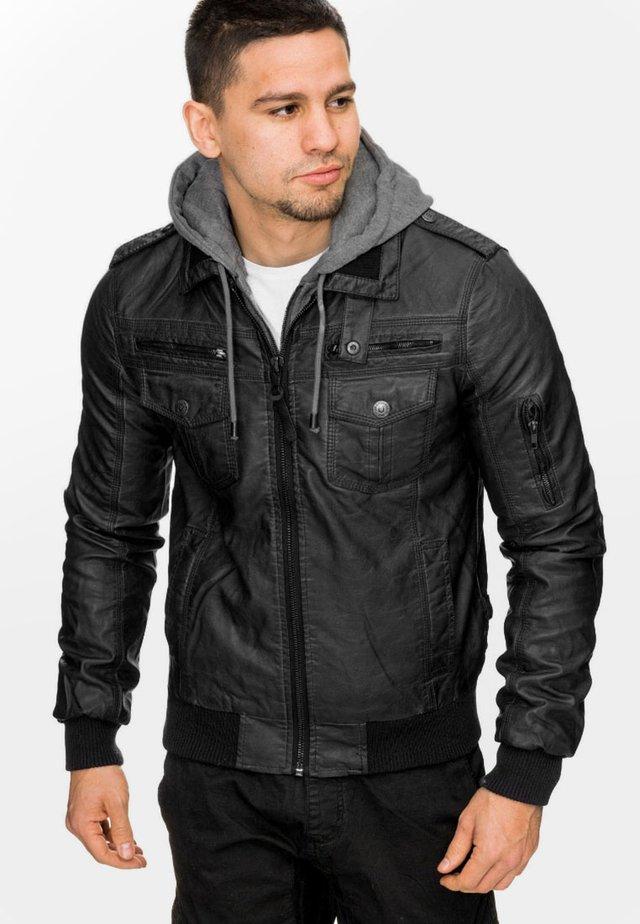 AARON - Imiteret læderjakke - black