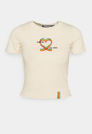 RIBBON HEART SLIM FIT TEE - T-shirt con stampa - cream