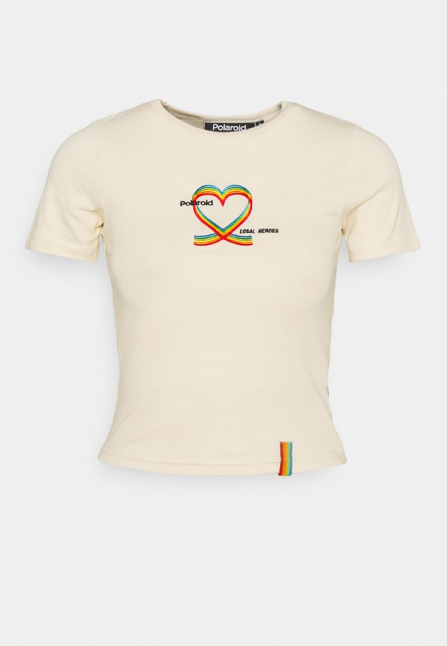 RIBBON HEART SLIM FIT TEE - T-shirt print - cream