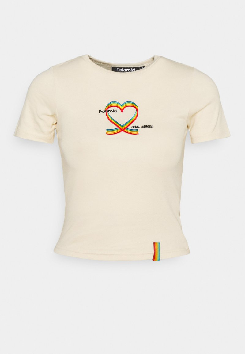 Local Heroes - RIBBON HEART SLIM FIT TEE - Print T-shirt - cream