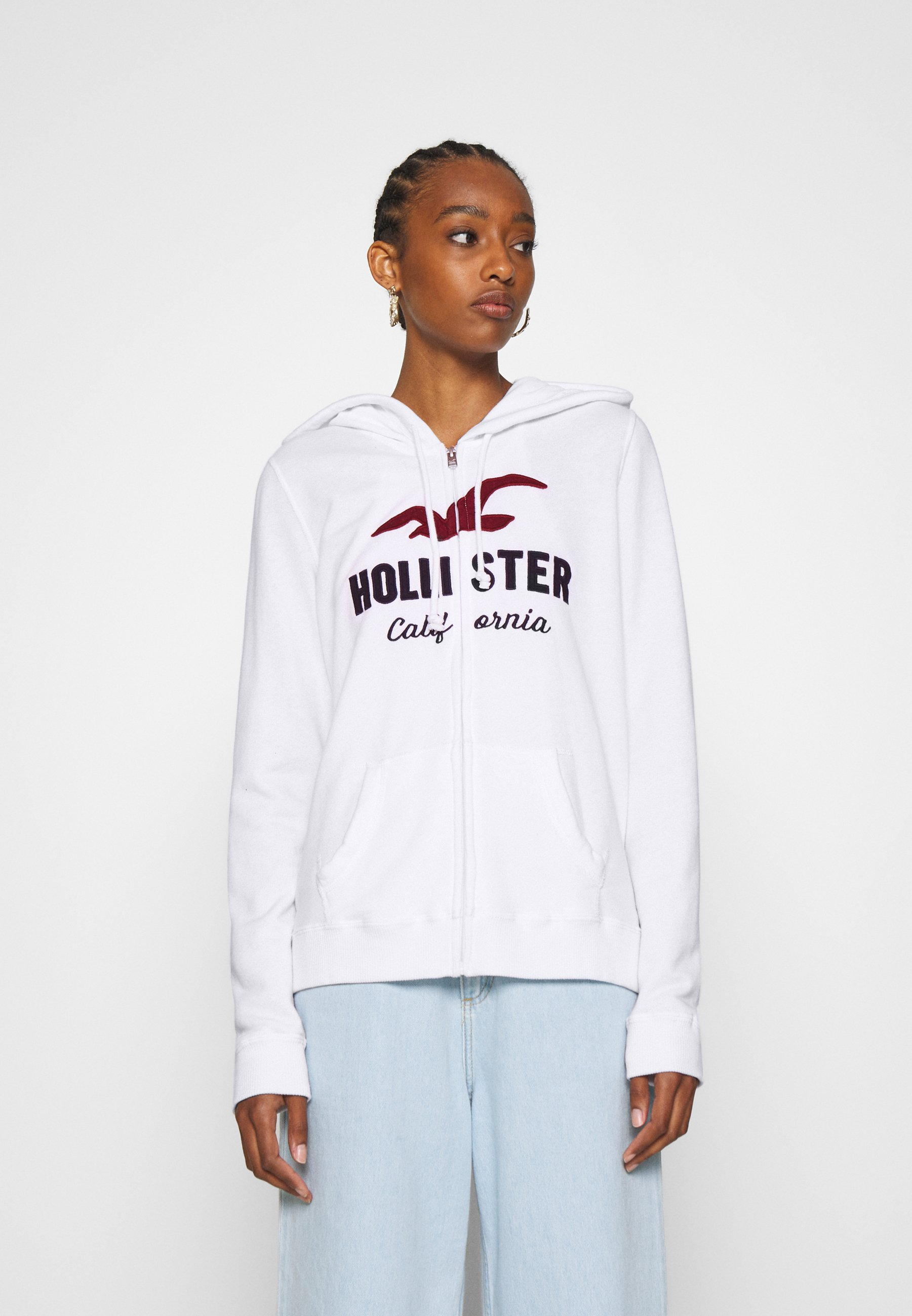 2020 New New Style Women's Clothing Hollister Co. TERRY TECH CORE Zip-up hoodie white kX3eR49NP 8VErNykkG