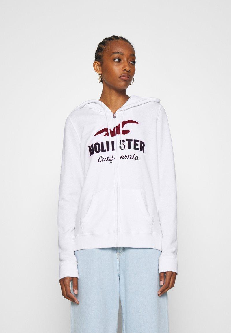 Hollister Co. - TERRY TECH CORE - Mikina na zip - white