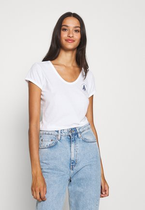 CIRCLE GR EYBEN RINGER SLIM U T WMN S\S - Basic T-shirt - white