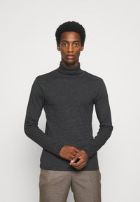 Marc O'Polo - LONG SLEEVE TURTLE NECK STRIPED - Long sleeved top - black - 0