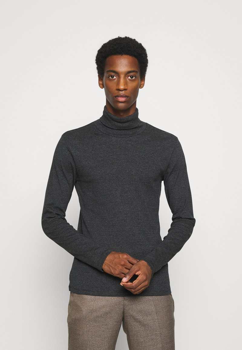 Marc O'Polo - LONG SLEEVE TURTLE NECK STRIPED - Long sleeved top - black
