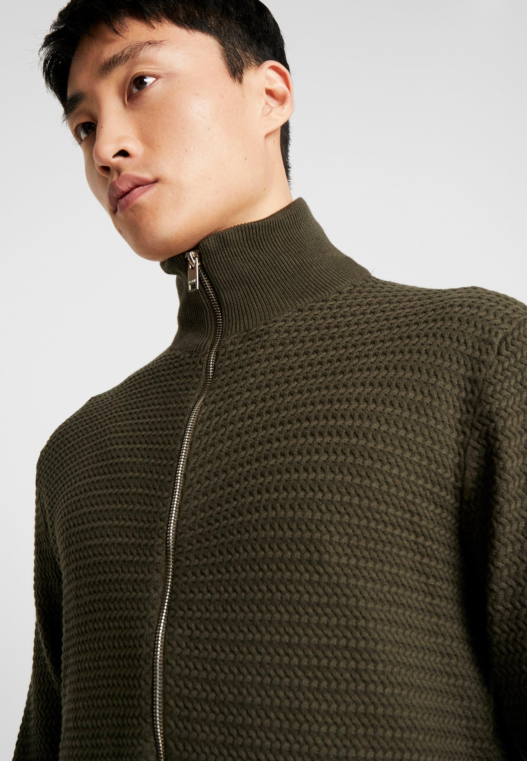 Solid Shad Zip - Cardigan Rosin/mørkegrønn