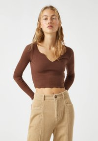 PULL&BEAR - Long sleeved top - dark brown - 0