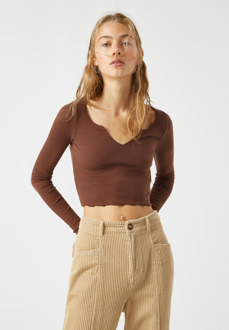 PULL&BEAR - Long sleeved top - dark brown
