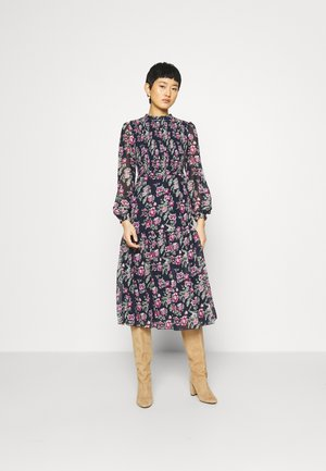 SHEERED MIDI FLORAL PRINT - Day dress - navy