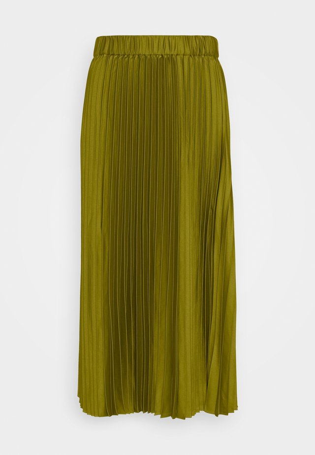 PLEATED MIDI LENGTH SKIRT - Falda larga - military