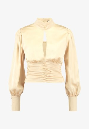 PURPOSEFUL HIGH NECK BUTTON GATHER DETAIL - Blouse - champagne