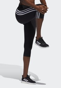 adidas Performance - BELIEVE THIS 3 STRIPES LEGGINGS - 3/4 sportovní kalhoty - black - 3