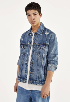 JEANSJACKE MIT RISSEN - Denim jacket - blue