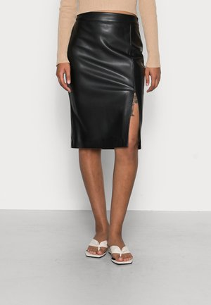 EMILIA VEGAN SPLIT MIDI SKIRT - Pencil skirt - black
