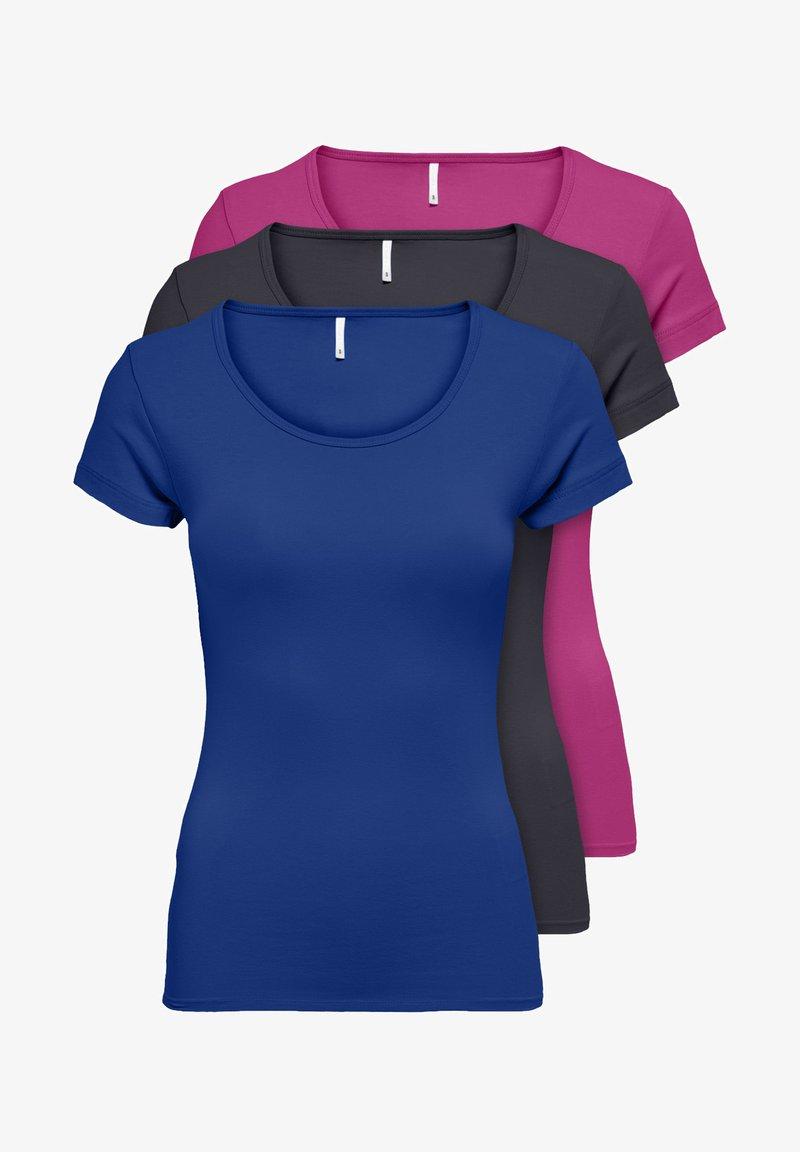 ONLY - PACK OF 3 - Basic T-shirt - blue/phantom/berry