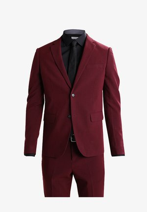 PLAIN MENS SUIT - Suit - bordeaux melange