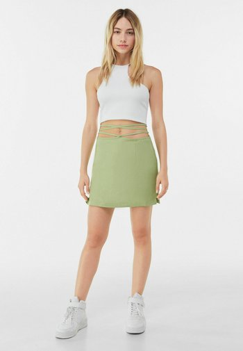 WITH SIDE BOW  - A-line skirt - green