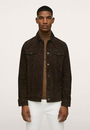 MET ZAKKEN - Leather jacket - olijfgroen